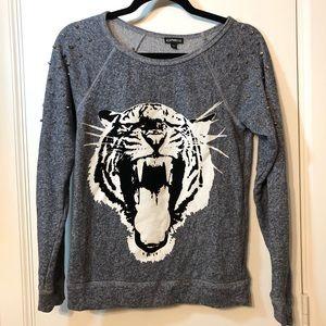 Express Tiger 🐅 Shoulder Studded Sweater